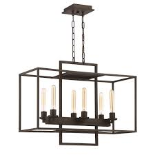 Jeremiah Lighting Chandeliers Craftmade 41526 Abz Cubic 6 Light Linear Chandelier In Aged Bronze