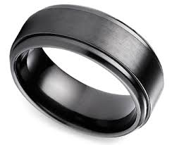 black titanium wedding bands for men step edge men s wedding ring in black titanium eawedding