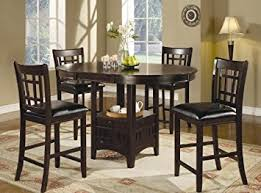 Amazoncom Pc Counter Height Dining Table And Stools Set Dark - High dining room sets