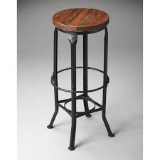 iron bar stools iron counter stools furniture brown wooden round seat on black iron backless bar stool