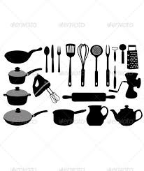 kitchen utensils black collage collection cutter dough