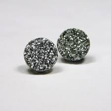 druzy stud earrings silver druzy stud earrings metallic circle small bold