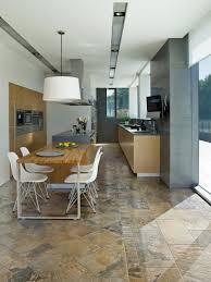 kitchen wood tile floor ideas black polished wood island chrome