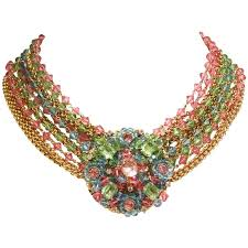 multi crystal necklace images Rare 1970s chanel multi colored crystal glass collar necklace at jpg