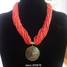 wholesale beaded necklace images Tnl191 nepal colorful brass pendants tibetan red beaded necklace jpg