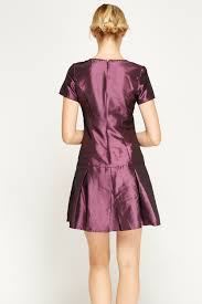 purple satin sater hem dress just 5