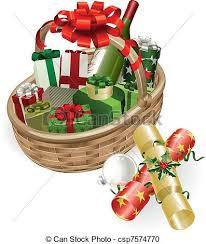 christmas basket christmas basket illustration a christmas basket with wine