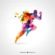 watercolor running man vector free download