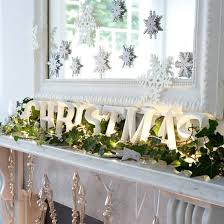 white mantle lighted garland white mirror snowflakes