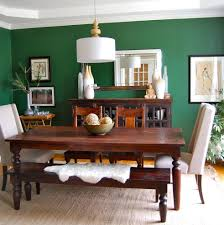 green room dining room contemporary with wood dining bench