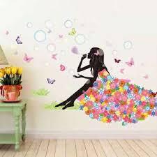 sticker mural chambre sticker mural chambre enfant pour fille avec bulles et papillons