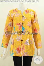 desain baju batik untuk acara resmi batik blus warna kuning desain mekar bawah baju batik modis motif