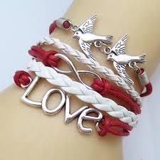 heart leather bracelet images Fashion vintage birds leather cute love best friends rope charm jpg