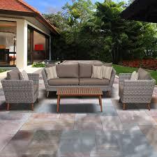 Eucalyptus Outdoor Table by Amazonia Greece 4 Piece Eucalyptus Patio Conversation Set With