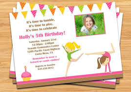 birthday party invitations gymnastics birthday party invitation vertabox