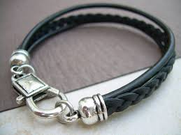 leather women bracelet images Leather bracelet unisex mens womens black and antique silver jpg