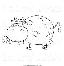 clip art of an outline design of chubby cow eating a daisy flower