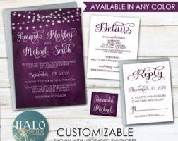 purple wedding invitation kits plum rsvp wedding etsy