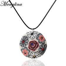 leather necklace pendants images Menglina fashion rose flower fimo polymer clay pendant necklace jpg
