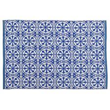 tapis d extérieur en pvc bleu et blanc 160 x 230 cm santorini