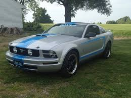 Silver Mustang With Black Stripes My Baby 2005 Ford Mustang Satin Silver With Blue Racing Stripes