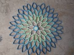Home Decor Etsy by Round Wall Art Dahlia Home Decor Paper Artwork Blue Green
