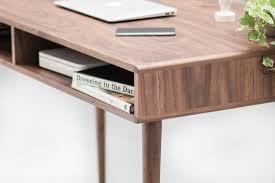Modern Walnut Desk Modern Walnut Desk With Open Cubbies Mid Century Design