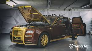 golden rolls royce mansory rolls royce ghost by wrapstyle gtspirit