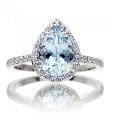aquamarine and diamond ring aquamarine diamond halo engagement ring