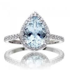 pear shaped ring aquamarine diamond halo engagement ring