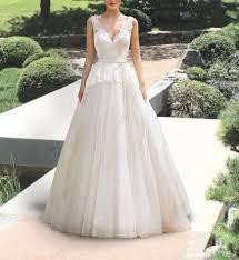 white v neck straps wedding dress vintage boho chic wedding gown