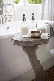 Bathroom Accent Tables Roll Top Bathtub With Faux Bois Accent Table Transitional Bathroom
