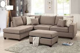 Sectional Sofa With Ottoman Poundex F6544 Mocha Fabric 3 Pc Reversible Chaise Sectional Sofa
