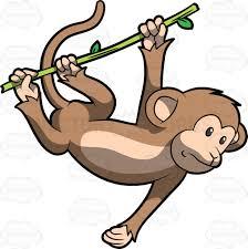 a cute monkey swinging from tree to tree cartoon clipart vector