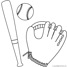 baseball glove ball and bat coloring page sports
