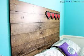 Wood Headboard Diy Our New Diy Headboard Rustic Wood And 8 Bit Hearts Our Nerd Home