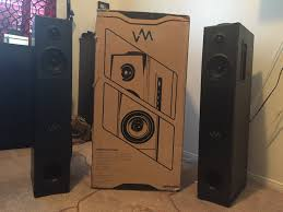 home theater tower speakers vm audio srat10 floorstanding powered tower speakers review youtube