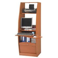 armoire informatique style contemporain décor merisier l 60 cm