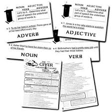 the giver phrases and clauses noun verb adjective adverb tpt