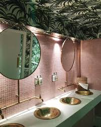 tropical wallpaper on a bathroom ceiling makes a change