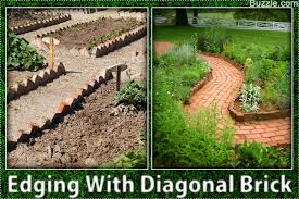 edging with diagonal brick colorful flower bed border attractive