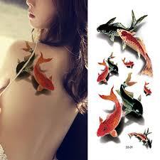 koi carp tattoo designs 3d lifelike chinese ink painting temporary