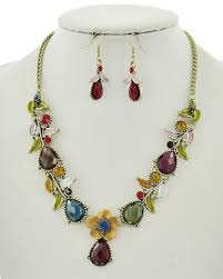 crystal necklace designs images Gold tone multi crystal necklace set sedalia designs jpg