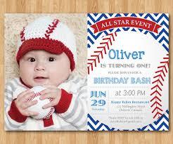 baseball birthday invitation first birthday baby boy chevron