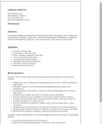 Resume Template Medical Assistant Professional Dermatology Assistant Templates To Showcase Your