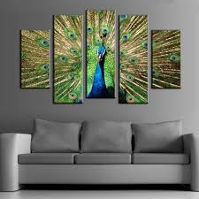 peacock decor for home 5pcs printed peacock painting canvas print room decor 20 66