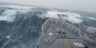 ship in a this navy ship take on a truly wave