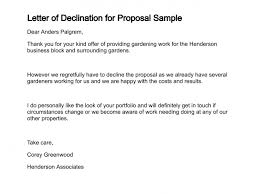 Decline Letter For Letter Of Declination