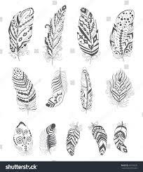 set ornamental boho style feather hippie stock vector 446708578