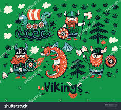 set three vikings dragon ship cartoon stock vector 672266413